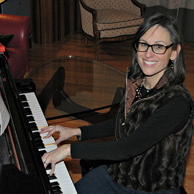 Andrea Larson playing the panio